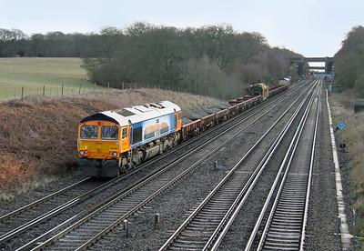 66709 Potbridge 14/01/15 on the rear of 6G30 Hamworthy to Woking