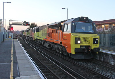 70809 Basingstoke 19/01/15 6Z70 Eastleigh to Hinksey with 70804, 70803 and 56087 on the rear