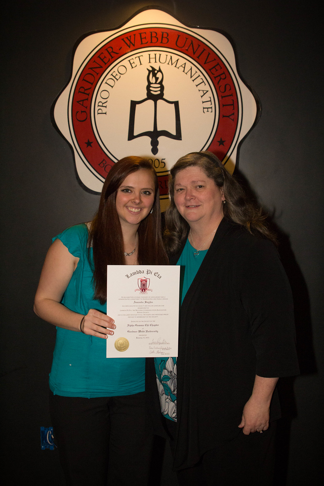 Gardner-Webb's Department of Communication and New Media has its very first Lambda Pi Eta honors induction. Students pose with their family and friends in celebration.