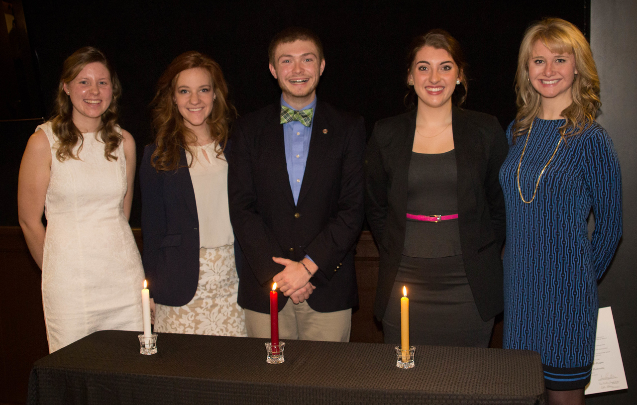 The Lambda Pi Eta officers. From left to right: Elizabeth Banfield, Anna Kullmar, Collin Helms, Emily DeVries and Kelli Kline.