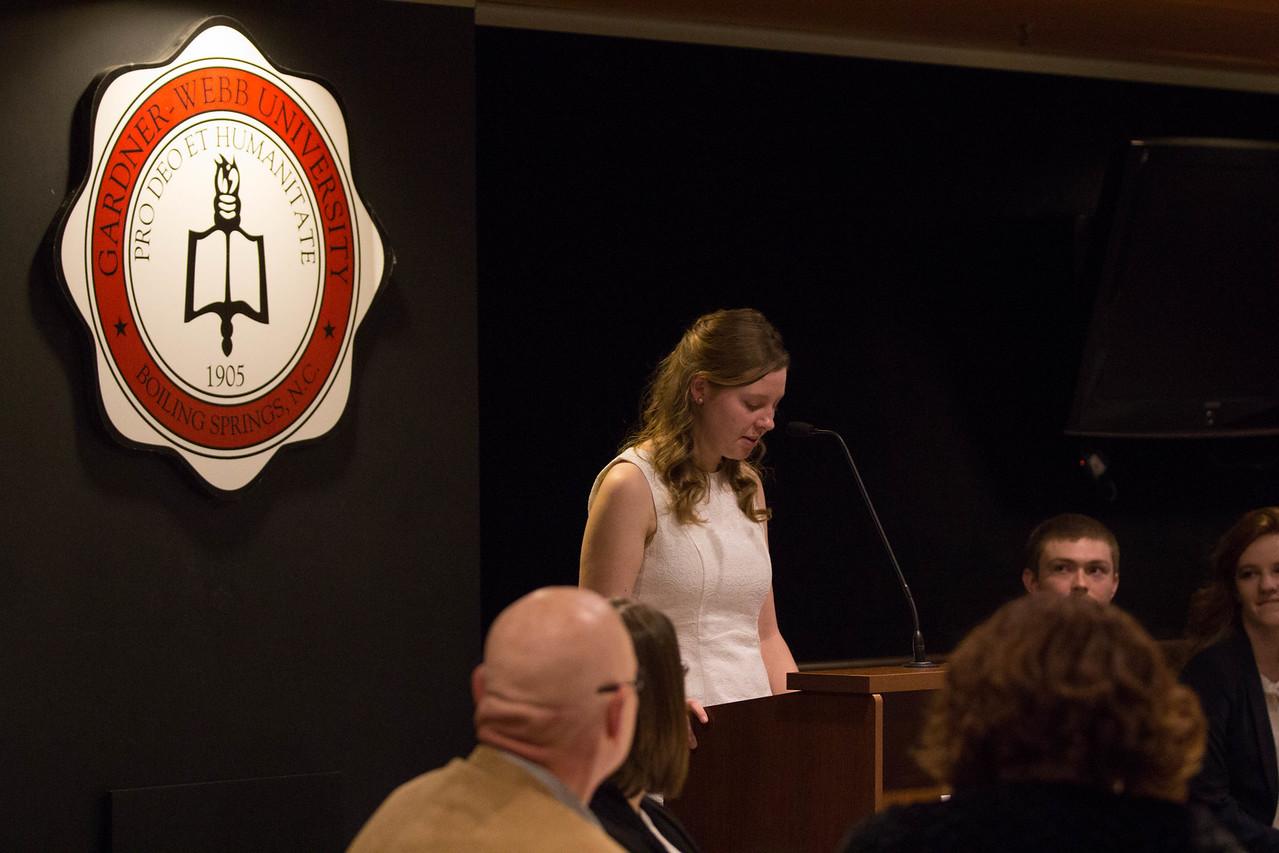 Elizabeth Banfield, Lambda Pi Eta Treasurer and Publicist.