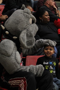 Mac, our GWU Bulldog, interacts with our fans.