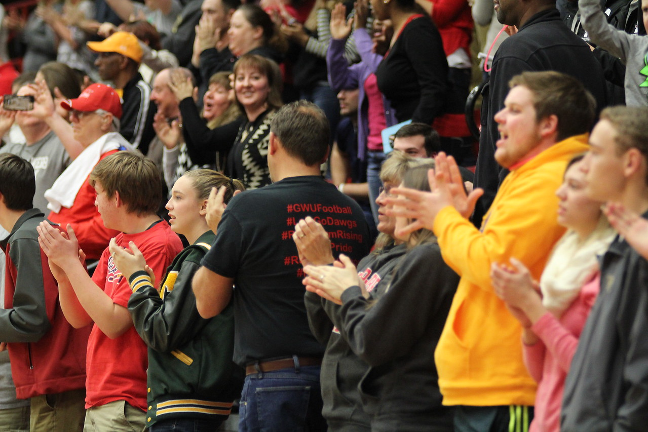 Fans cheer after GWU defeats Coastal Carolina.