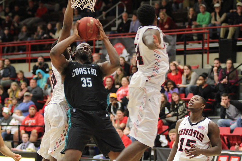 Saturday afternoon, January 31st, GWU Men's Basketball conquered Coastal Carolina 66-64 in the last two seconds of the game! Exciting game with lots of action of GWU fan support.