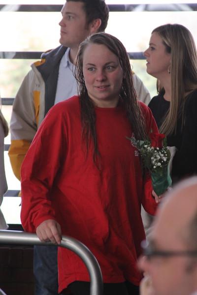 Senior, Kristen Ellison, is honored at the senior home swim meet on Saturday, January 31st against Davidson.