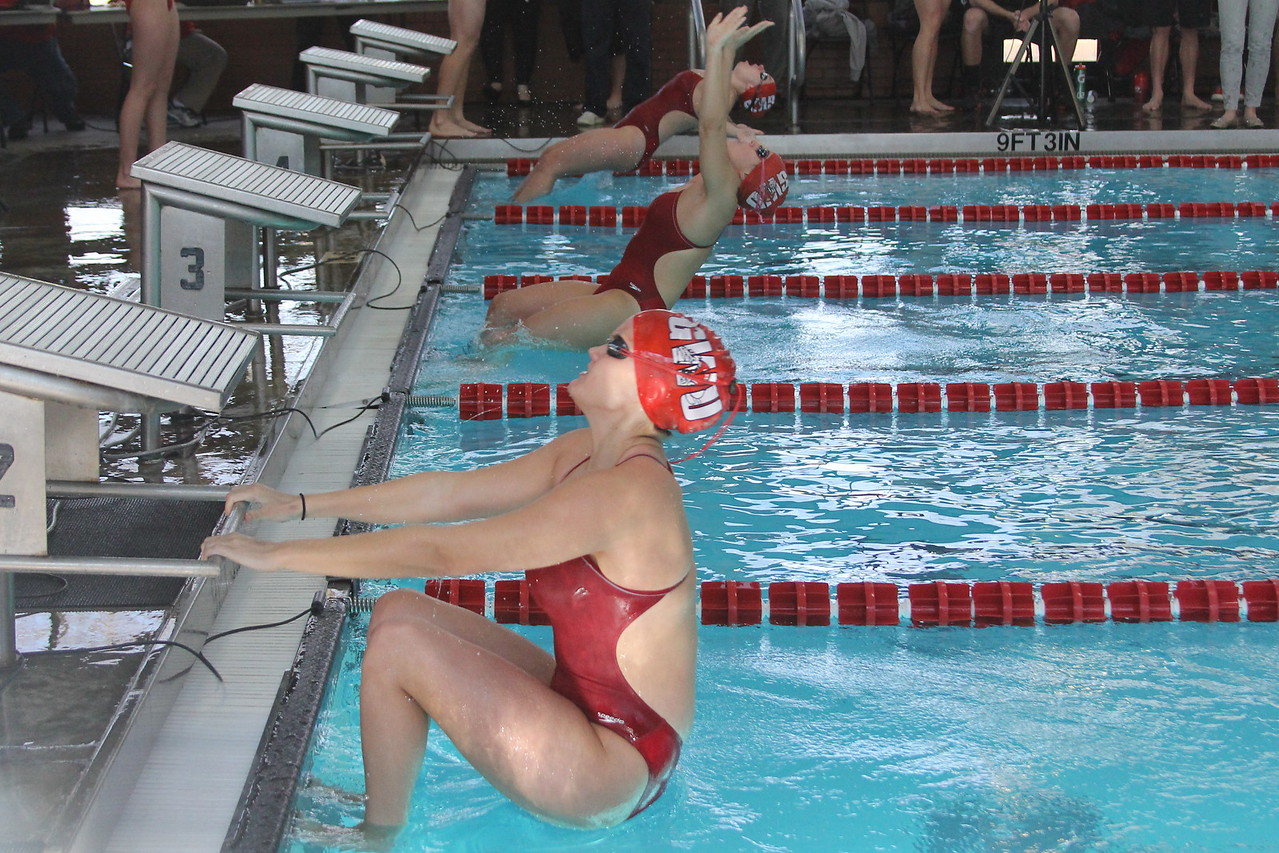 Girls get ready to compete in 100 meter backstroke.