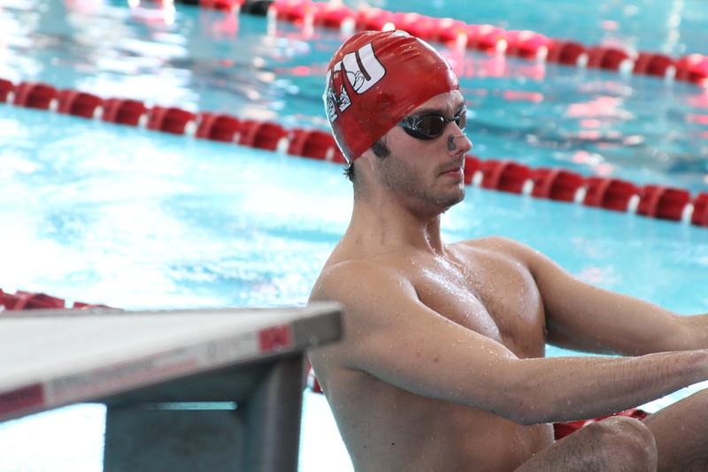 John Baker prepares to compete in the backstroke.