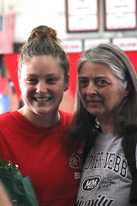 Senior, Cjay Wiley, is honored at the senior home swim meet on Saturday, January 31st against Davidson.
