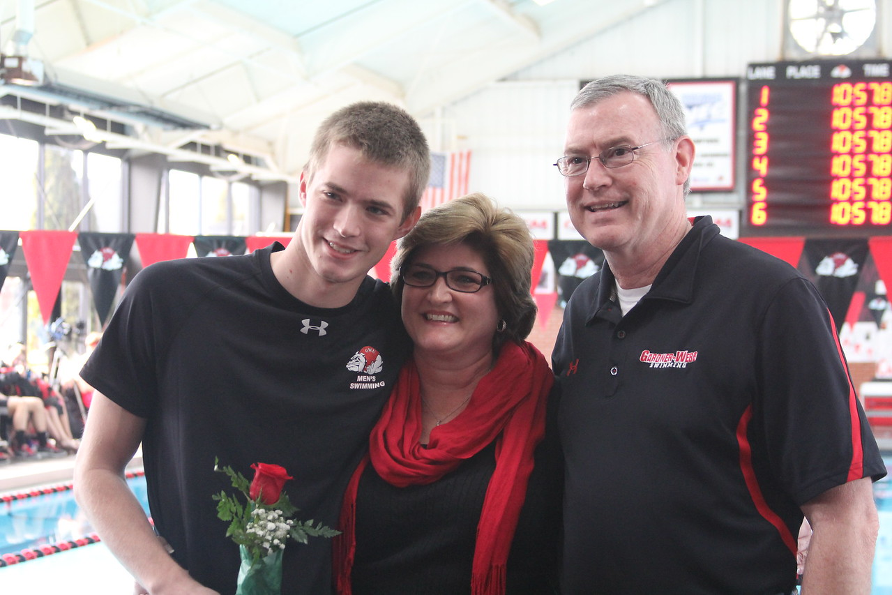 Seniors are honored at the senior home swim meet on Saturday, January 31st against Davidson.