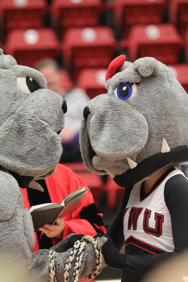Mac and LuLu tied the knot during halftime at tonight's basketball game.