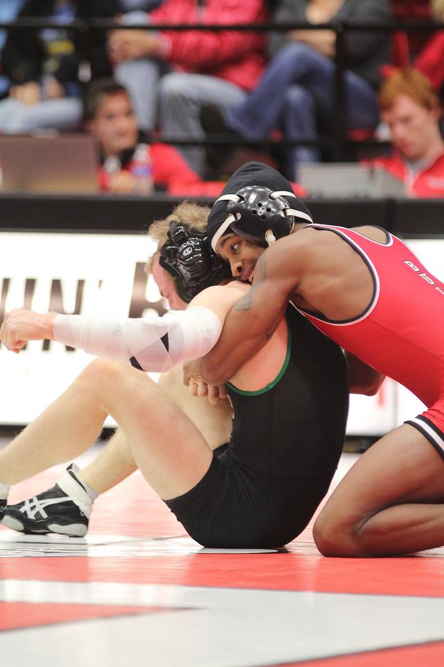GWU wrestling team competes against Binghamton, Friday January 9th. Final score 20-15 Binghamton.