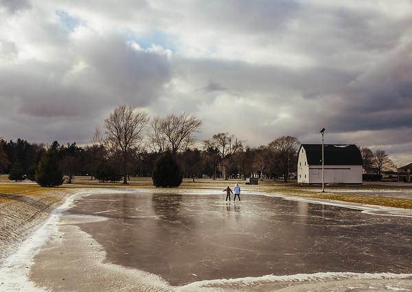 JOED VIERA/STAFF PHOTOGRAPHER-Olcott, NY- Kristine Kingsbury and her son Ben (8) skate around Krull Park. Friday, January, 2, 2015