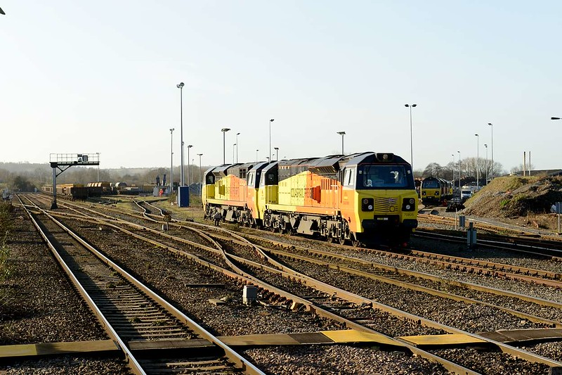 2 January 2015 :: 70805, 70810 and on the right 70808 are seen stabled at Westbury