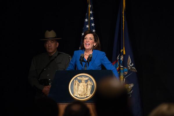 JOED VIERA/STAFF PHOTOGRAPHER-Buffalo, NY- Liuetenant Governor Kathy Hochul delivers her inaugural inaugural addresss at the Buffalo History Museum. Thursday, January 1, 2015