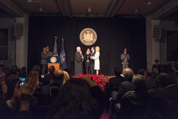 JOED VIERA/STAFF PHOTOGRAPHER-Buffalo, NY- Governor Andrew Cuomo takes  his oath of office at the Buffalo History Museum. Thursday, January 1, 2015