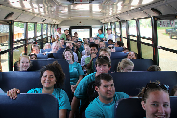 Bus to Big Surf. Can you find Josh? Hint: you can't see his entire face.