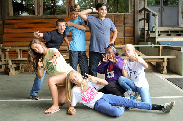 CIP campers being silly  before a meal!