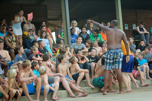 Saturday, June 13,  Josh is in the crowd watching the Luau (on the left, middle)