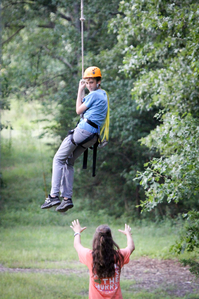 Josh coming down from the high ropes course
