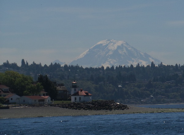 Alki Lighthouse with Mt. Rainier in the background