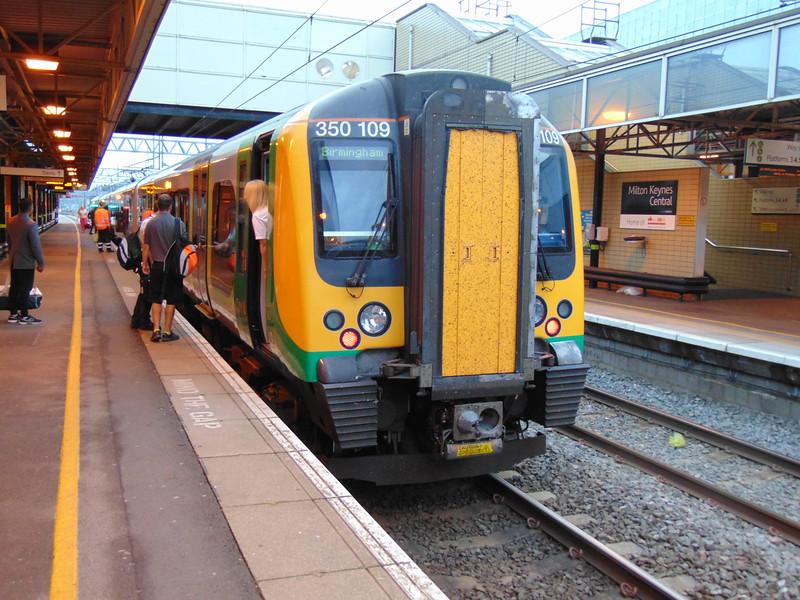 London Midland Class 350 Desiro no. 350109 at Milton Keynes Central with the 05:35 to Birmingham New Street.