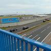 The Sydenham station footbridge looking towards Belfast City Airport.