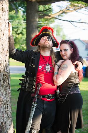 JOED VIERA/STAFF PHOTOGRAPHER-Olcott, NY-<br /> Clayton Kelley/Captain Snake Pliskin and Tessa Barrett/Siren <br /> enjoy Piratesfest.