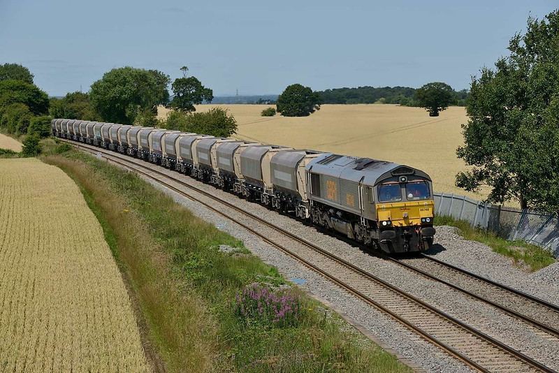 15 July 2015 :: GBRf grey liveried 66748 is seen at Portway with 6V09 from Tinsley to Coton Hill