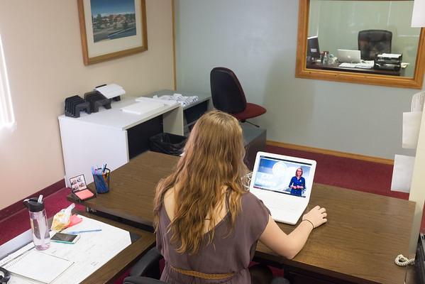 JOED VIERA/STAFF Lockport, NY-Rachel Fuerschbach checks out one of the EXP Niagara training videos.