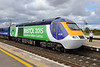 "29 July 2015 :: In its new ""Bristol 2015 European Green Capital"" livery, 43126 make a station call at Didcot Parkway with 1L19, the 1334 from Bristol Temple Meads to Paddington"