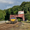 14 July 2015 :: Passing the superb signal box at Hexham is 66194 with 6M02 from Tyne SS to Carlisle