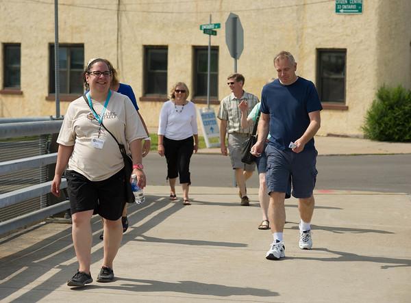 JOED VIERA/STAFF PHOTOGRAPHER-Lockport,NY-Lisa Testa leads the Explore Buffalo group on a tour of Lockport.