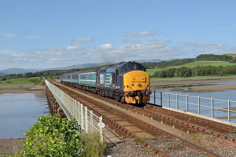 9 July 2015 :: 37409 is pictured on Eskmeals Viaduct powering 2C34, the 1435 from Carlisle to Barrow-in-Furness with 37218 DIT on the rear of the train