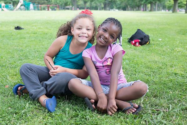 JOED VIERA/STAFF PHOTOGRAPHER-Lockport, NY-<br /> Mariah Hughes 5 and Ra'shonna Moore 6 hang out at at Outwater Park.