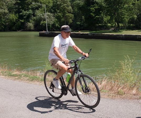 JOED VIERA/STAFF PHOTOGRAPHER-Lockport, NY- A man takes a bike ride along the Canal.