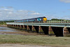 9 July 2015 :: Crossing Eskmeals Viaduct , 37603 leads 2C41, the 1437 from Barrow-in-Furness to Carlisle with 37423 nearest the camera