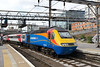 23 July 2015 :: A bit of a clash of liveries? It appears that Virgin Trains East Coast (VTEC) have hired in a pair of East Midlands Trains HST power cars which were either end of a rake of re liveried VTEC MkIII's.  In the pictures we see 43049 on the rear of 1H10, the 1719 KIng's Cross to Hull