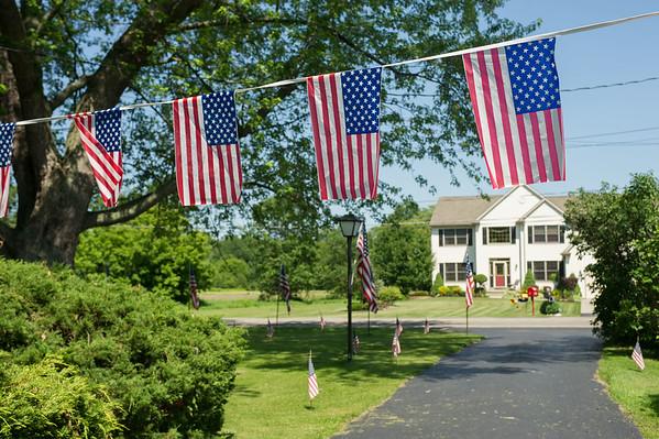 JOED VIERA/STAFF PHOTOGRAPHER-Wheatfield, NY- American Flags fill Paul Greinert's property on Errick Road.