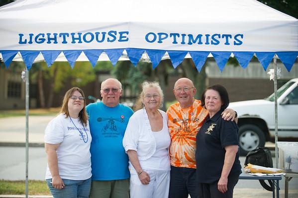 JOED VIERA/STAFF PHOTOGRAPHER-Barker, NY-Lighthouse Optimists Holly Ward, Frank stabler, Julie Obermiller, Peter Stutz and Grace Destino pose for a photo.
