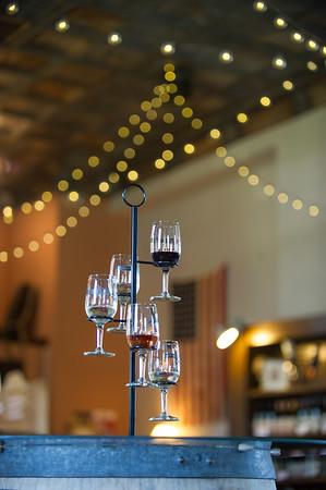 JOED VIERA/STAFF PHOTOGRAPHER-Lockport, NY-A sampling of wines at Flight of Five Winery.