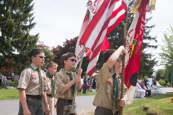 JOED VIERA/STAFF PHOTOGRAPHER-Lockport, NY-Boy Scouts participate in the annual Memorial Day service at Cold Springs Cemetary.