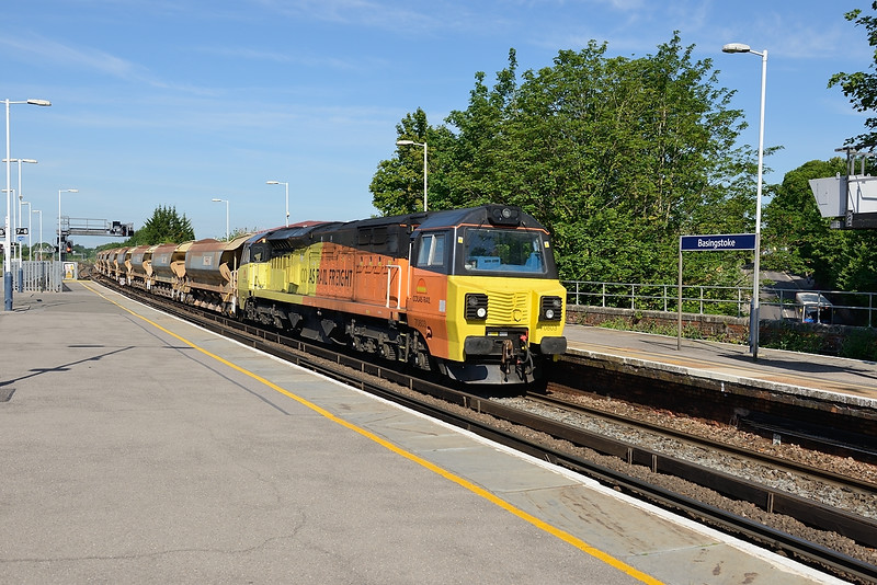 24 June 2015 :: 70803 is at Basingstoke working 6Y41 from Eastleigh to Hoo Junction