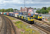 1 June 2015 :: 66504 and 66543 DIT are seen at Millbrook with 4M61 from Southampton to Trafford Park.  70019 is in the Millbrook yard