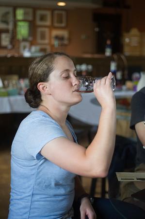 JOED VIERA/STAFF PHOTOGRAPHER-Lockport, NY-Alexa Ciarolla samples wine at Flight of Five Winery.