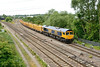 29 June 2015 :: The train is 6M26 from Eastleigh to Mountsorrel with 66722 and is seen at Didcot North junction having been routed through Didcot Station rather than the West Curve