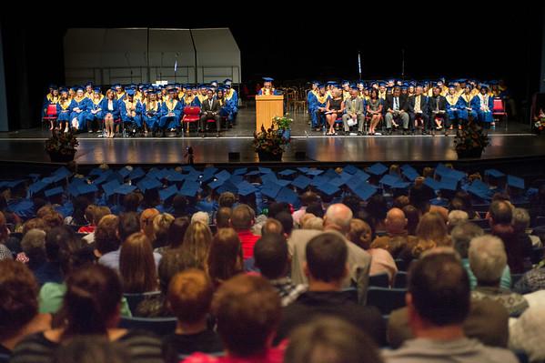 JOED VIERA/STAFF PHOTOGRAPHER-Lewiston, NY-Lockport High School valedictorian Elizabeth Faxlanger speaks during her graduation ceremony at Artpark.