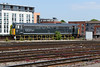 """11 June 2015 :: 31601 """"Devon Diesel Society"""" in its new DCR livery is seen stabled just outside Bristol Temple Meads"""