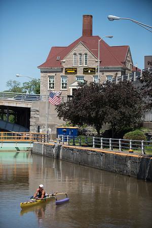 JOED VIERA/STAFF PHOTOGRAPHER-Lockport, NY-Margo Pellegrino from Newark New Jersey paddles her canoe throught the Locksl.