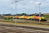 6 June 2015 :: An interesting line up of stabled Class 70 locomotives at Westbury.  70804/807/809/805/810/806
