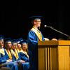 JOED VIERA/STAFF PHOTOGRAPHER-Lewiston, NY-Lockport High School salutatorian Matt Topolski speaks during his graduation ceremony at Artpark.